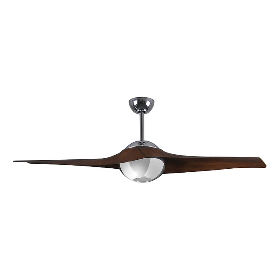 Matthews C-IV 60-in Polished chrome Integrated Indoor/Outdoor Downrod Mount Ceiling Fan with Light Kit and Remote (2-Blade)