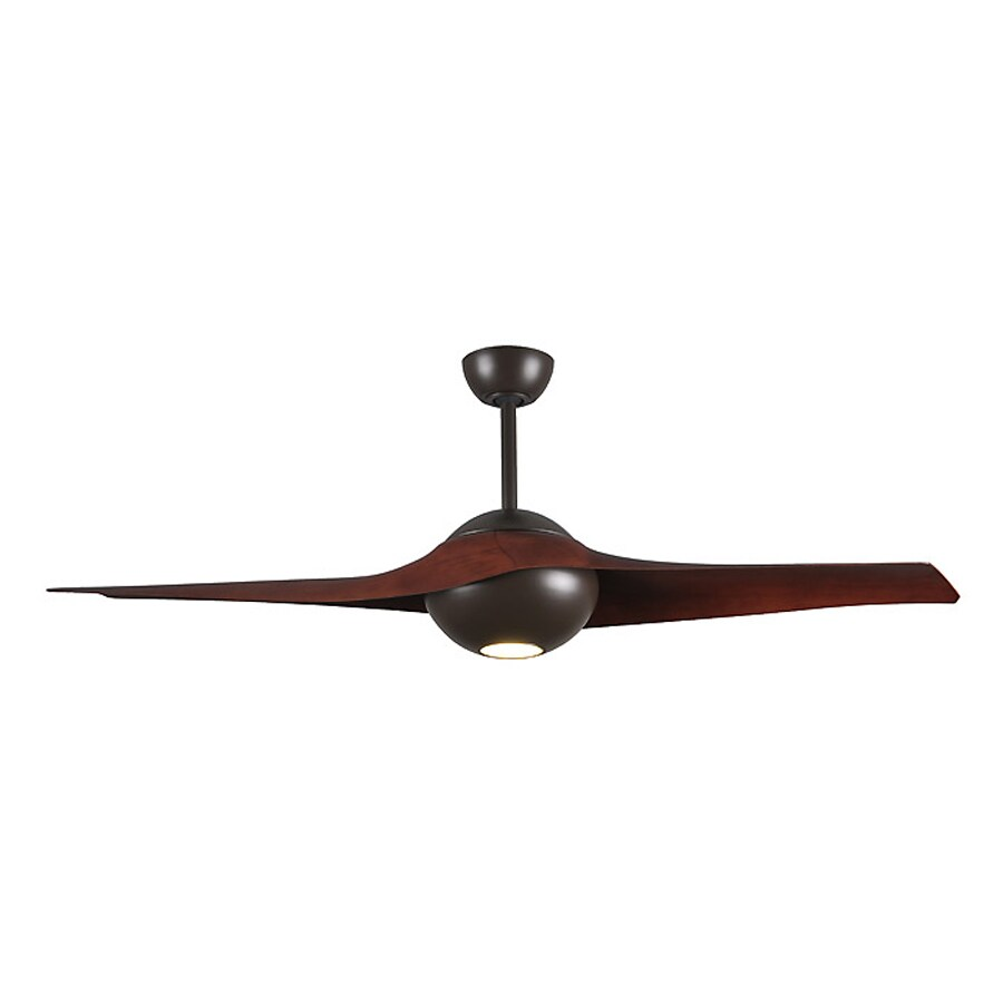 Matthews C-IV 60-in Textured bronze Integrated Indoor/Outdoor Downrod Mount Ceiling Fan with Light Kit and Remote (2-Blade)
