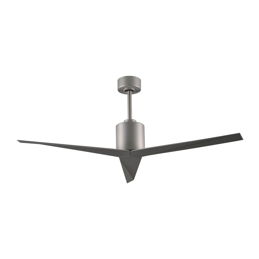 Matthews Eliza 56-in Brushed nickel Indoor/Outdoor Downrod Mount Ceiling Fan and Remote (3-Blade)