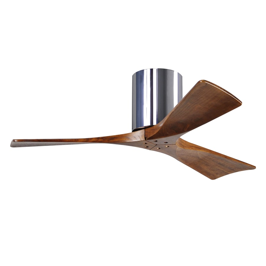 Matthews Irene 42-in Chrome Indoor/Outdoor Flush Mount Ceiling Fan and Remote (3-Blade)