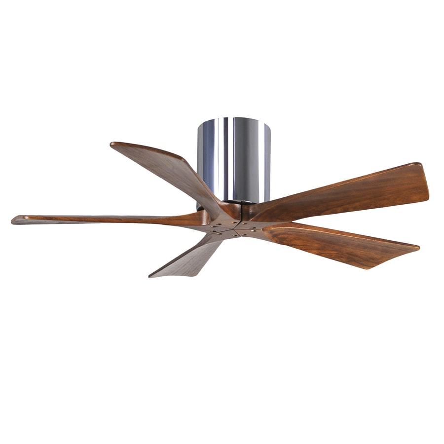 Matthews Irene 42-in Chrome Flush Mount Indoor/Outdoor Ceiling Fan with Remote (5-Blade)