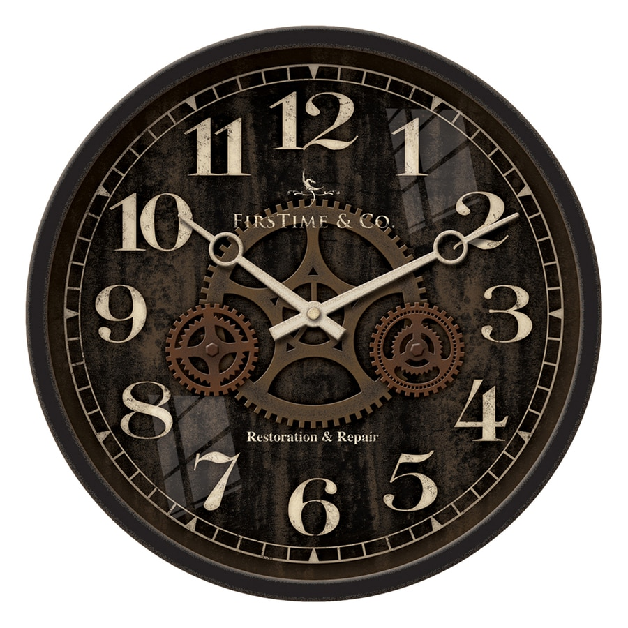 FirsTime Manufactory Industrial Gears Analog Round Indoor Wall Standard Clock