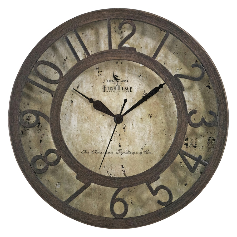 FirsTime Manufactory Raised Number Analog Round Indoor Wall Standard Clock