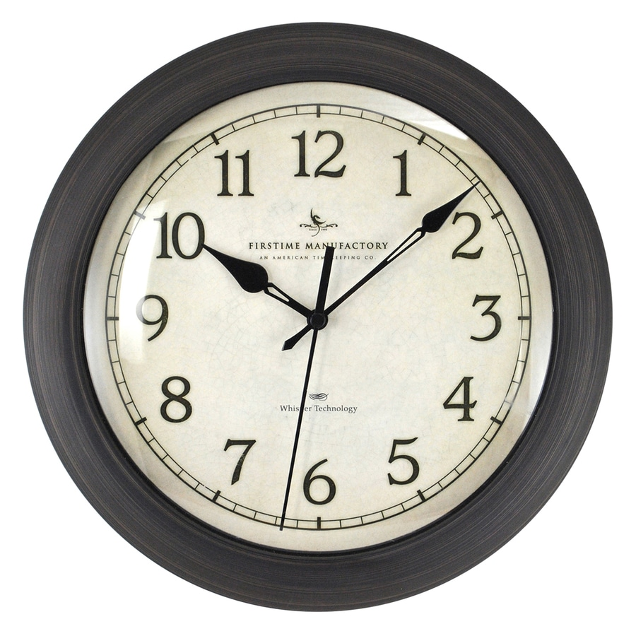 FirsTime Manufactory Bronze Slim Analog Round Indoor Wall Standard Clock