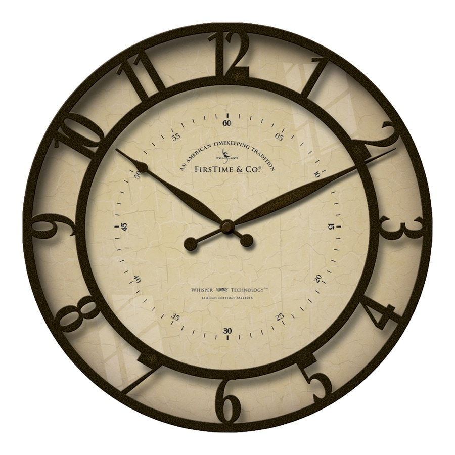 FirsTime Manufactory Kensington Whisper Analog Round Indoor Wall Standard Clock