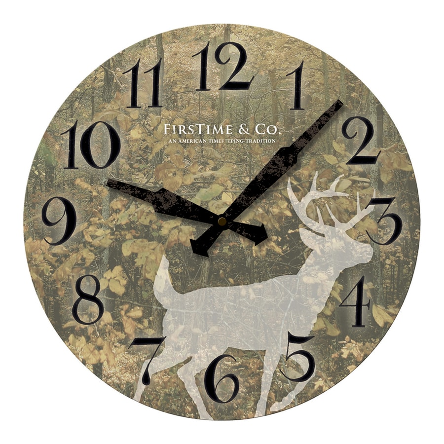 FirsTime Manufactory Forest Deer Analog Round Indoor Wall Standard Clock