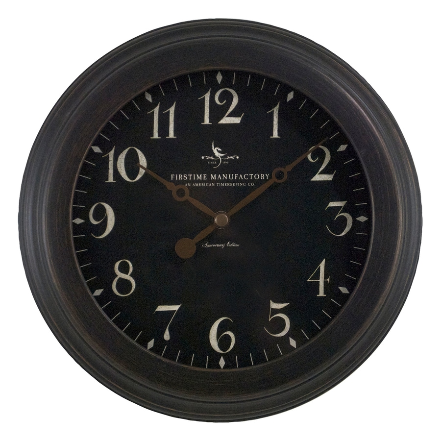 FirsTime Manufactory Black Onyx Analog Round Indoor Wall Standard Clock