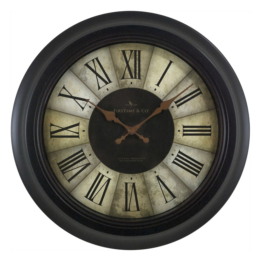 FirsTime Manufactory Divided Amber Analog Round Indoor Wall Standard Clock