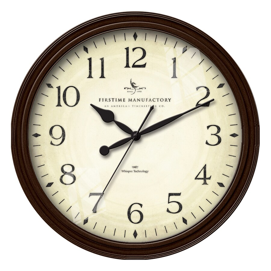 FirsTime Manufactory Avery Whisper Analog Round Indoor Wall Standard Clock
