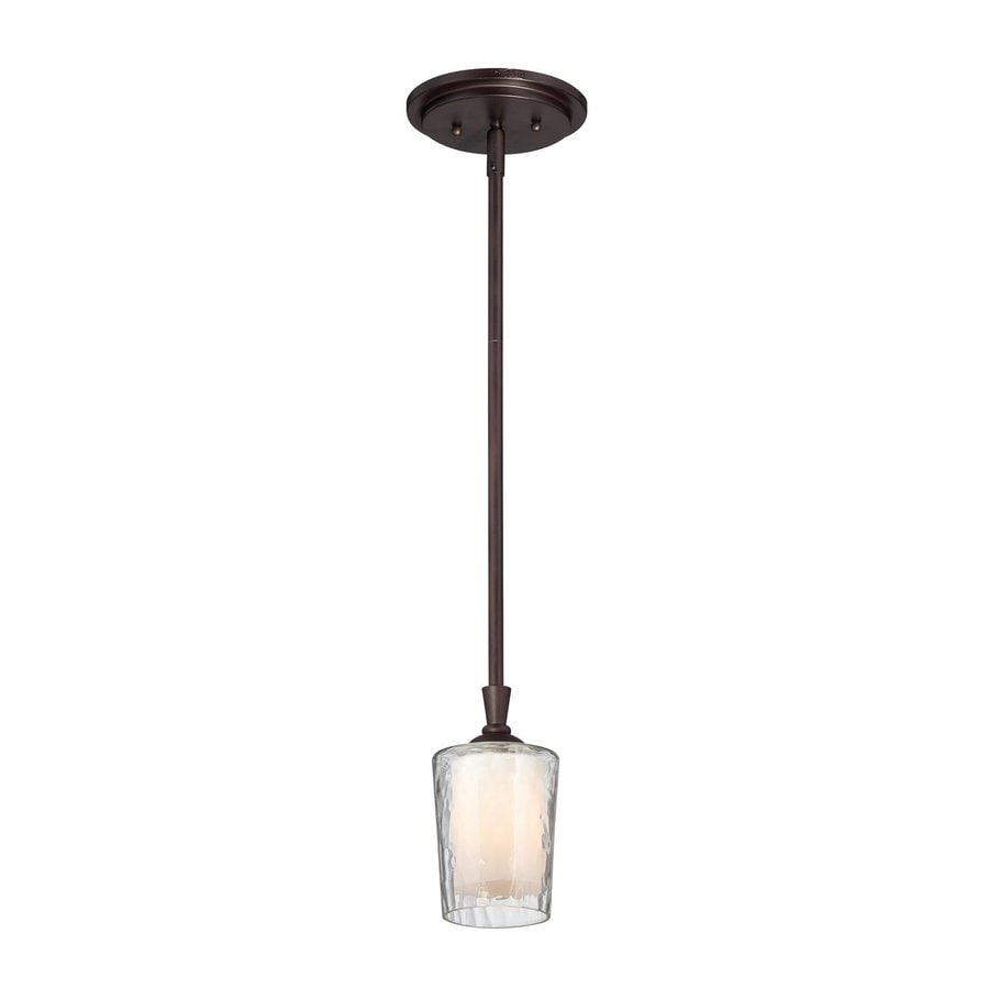 Cascadia Lighting Adonis 4-in Dark Cherry Wrought Iron Mini Textured Glass Cylinder Pendant