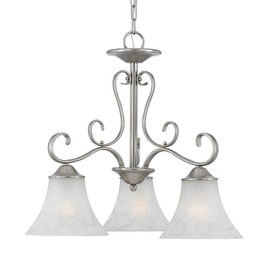 Cascadia Lighting Duchess 23-in 3-Light Antique Nickel Country Cottage Marbleized Glass Shaded Chandelier