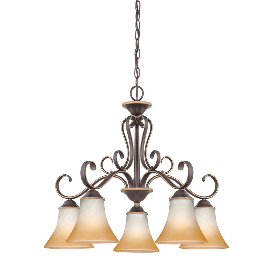 Cascadia Lighting Duchess 24.5-in 5-Light Palladian Bronze Mediterranean Tinted Glass Shaded Chandelier