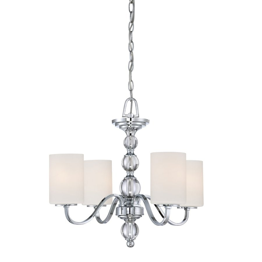 Cascadia Lighting Downtown 22-in 4-Light Polished Chrome Etched Glass Shaded Chandelier