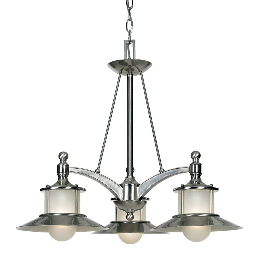 Cascadia Lighting New England 25-in 3-Light Brushed Nickel Coastal Shaded Chandelier