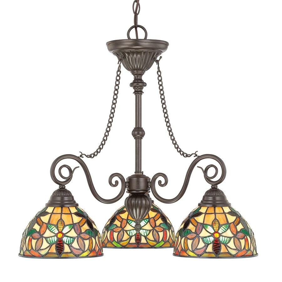 Cascadia Lighting Kami 25-in 3-Light Vintage Bronze Tiffany-Style Stained Glass Shaded Chandelier