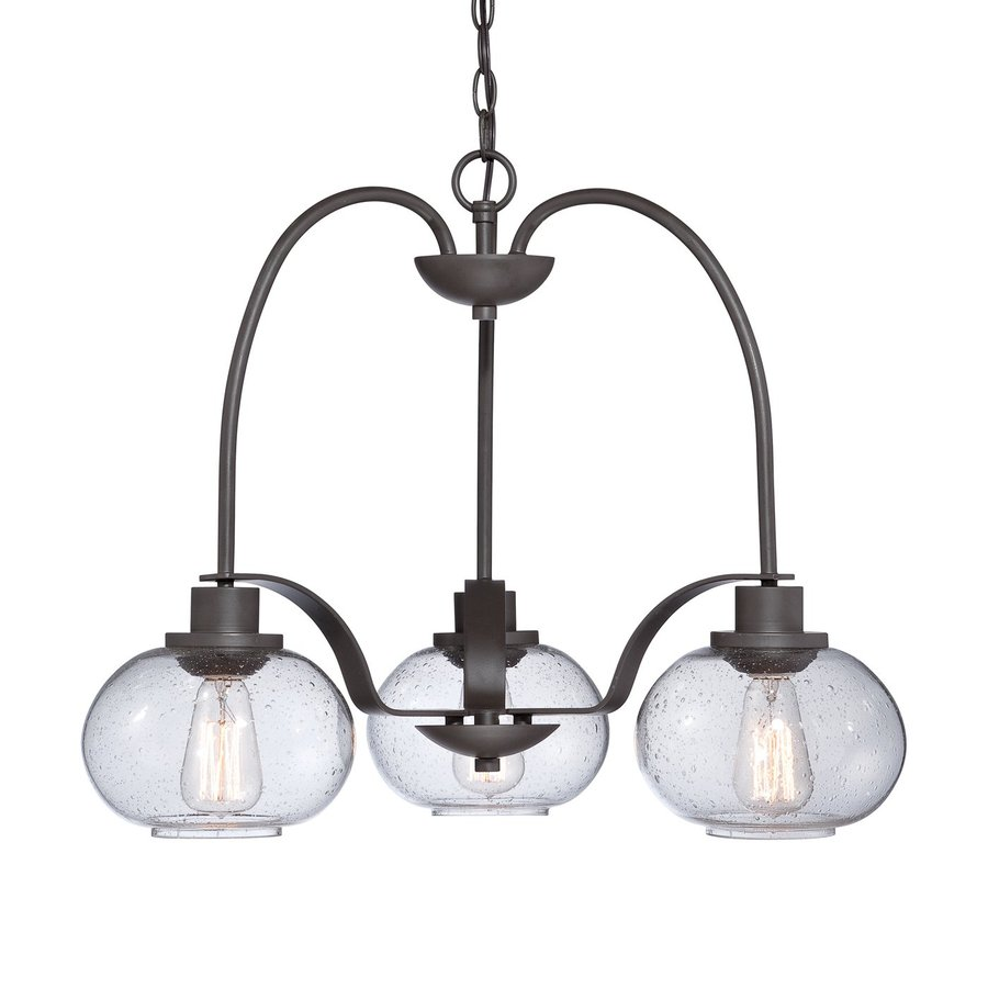 Cascadia Lighting Trilogy 22-in 3-Light Old Bronze Industrial Seeded Glass Shaded Chandelier