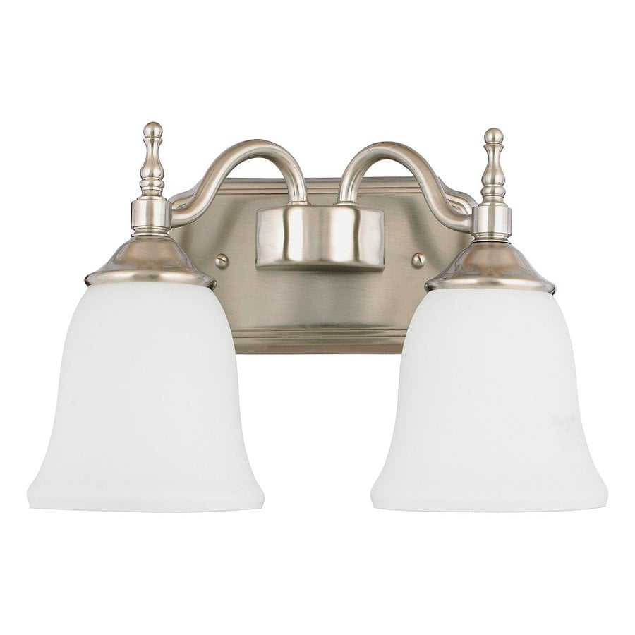 Cascadia Lighting Tritan 2-Light 9-in Brushed Nickel Bell Vanity Light