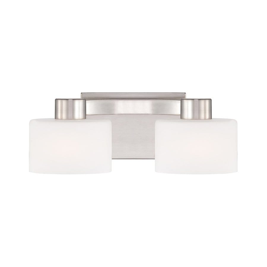lighting 2 light tatum brushed nickel bathroom vanity light at lowes. Black Bedroom Furniture Sets. Home Design Ideas