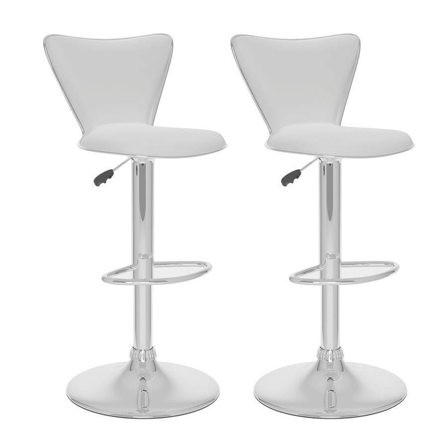 CorLiving Set of 2 White 31.75-in Adjustable Stools