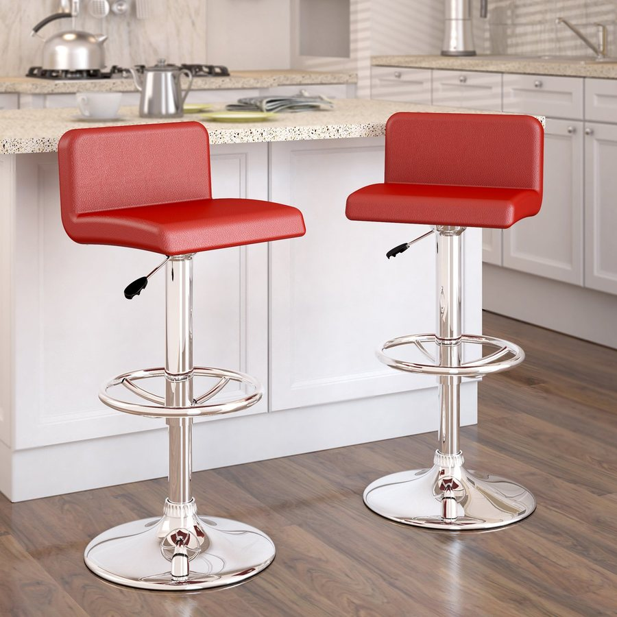 CorLiving Red/Chrome Adjustable Stool