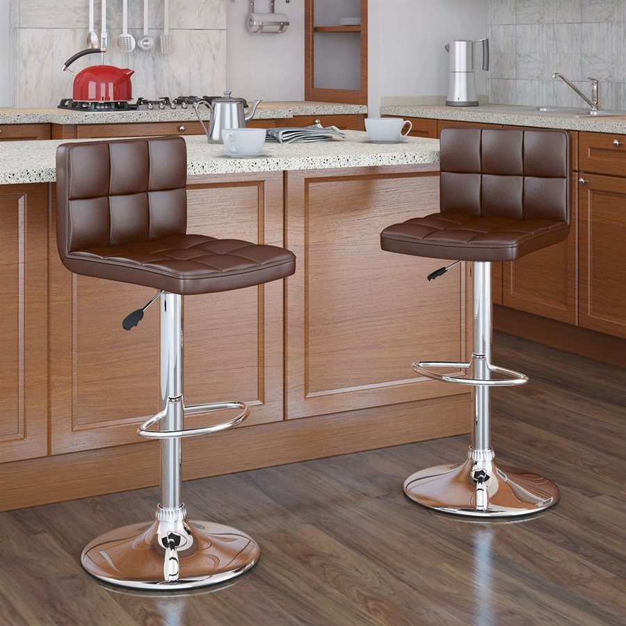 CorLiving Set of 2 Brown 31.75-in Adjustable Stools
