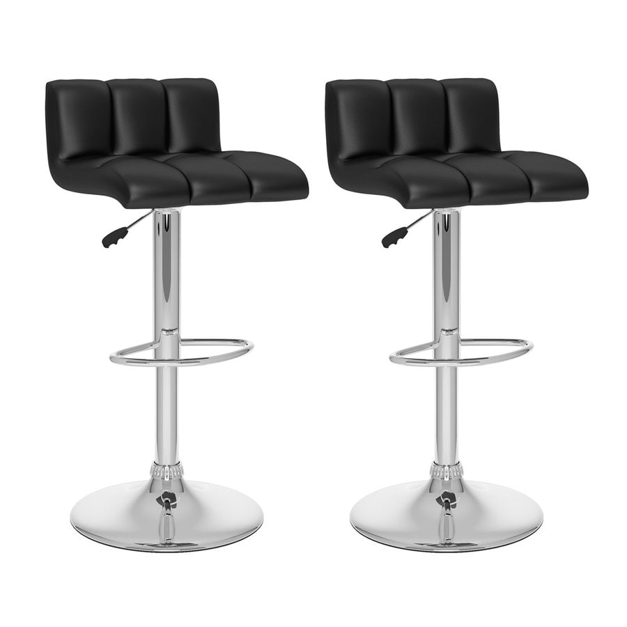CorLiving Set of 2 Black/Chrome 33-in Adjustable Stools