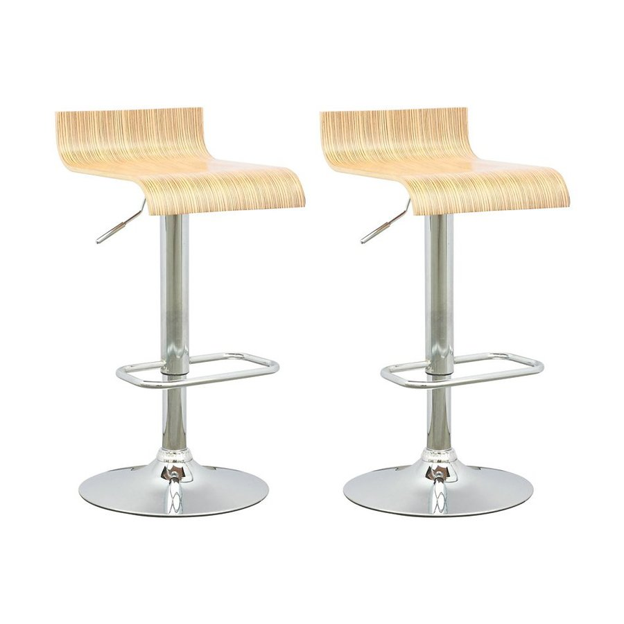 Sonax Set of 2 Light Bentwood/Chrome 25-in Adjustable Stools