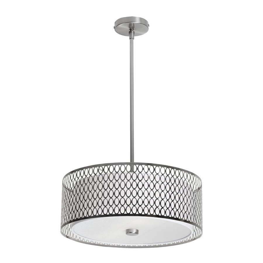 Dainolite Lighting 17-in Satin Chrome Single Clear Glass Drum Pendant