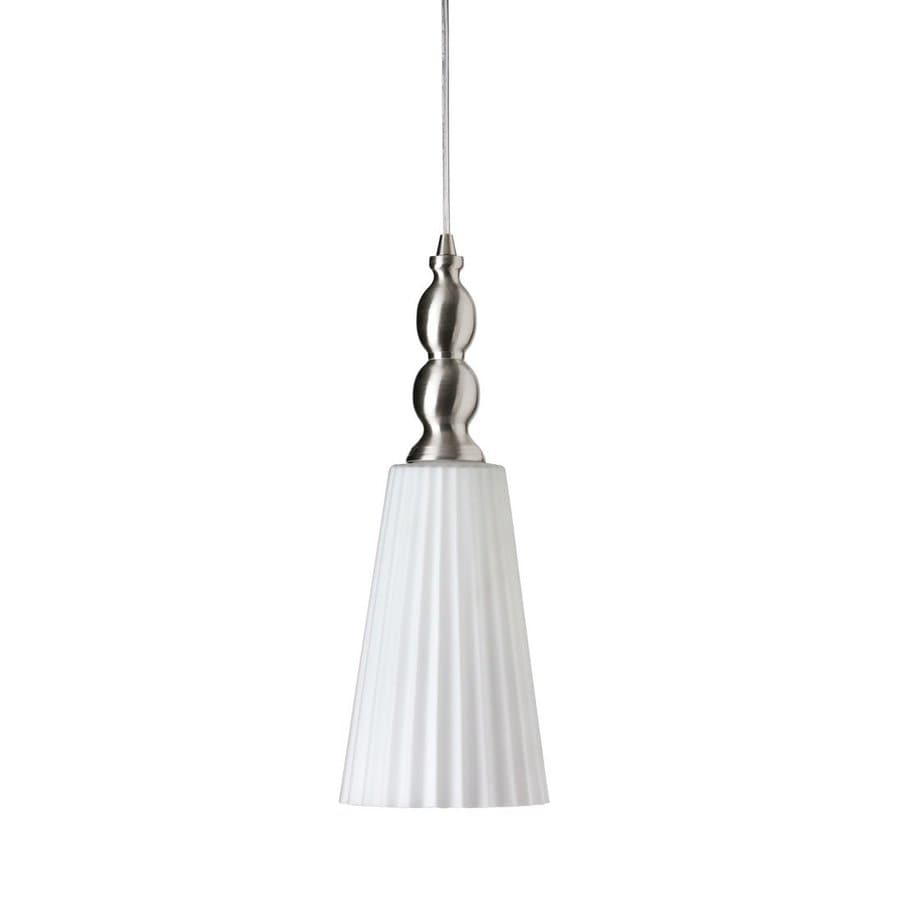 Dainolite Lighting 6-in Satin Chrome Country Cottage Mini Ribbed Glass Cone Pendant