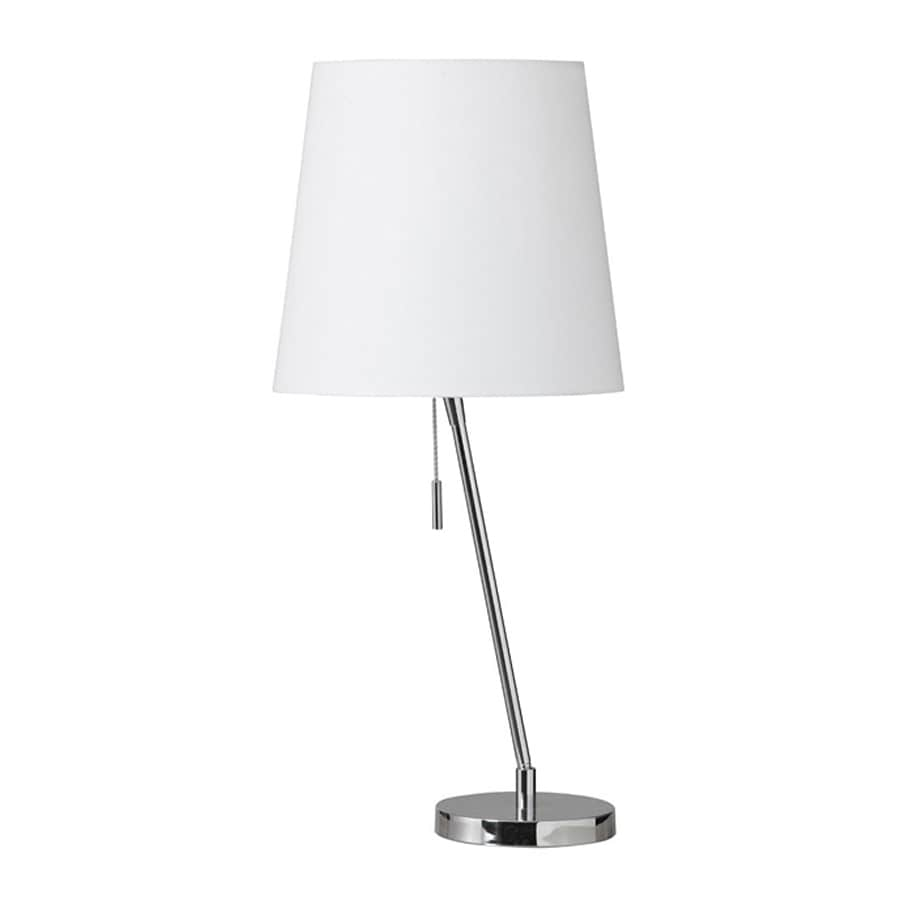 Dainolite Lighting Canting 23-in Polished chrome  Battery-operated  Stick Table Lamp with Fabric Shade