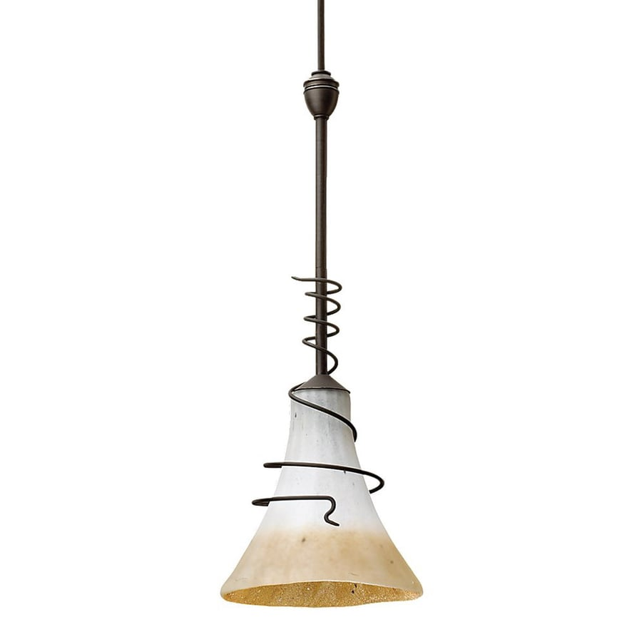 Ambiance by Sea Gull Saratoga 6.12-in Antique Bronze Vintage Mini Textured Glass Bell Pendant