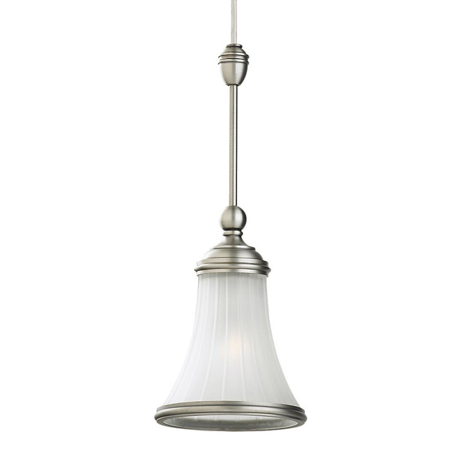Ambiance by Sea Gull Torry 5.28-in Antique Brushed Nickel Vintage Mini Ribbed Glass Bell Pendant