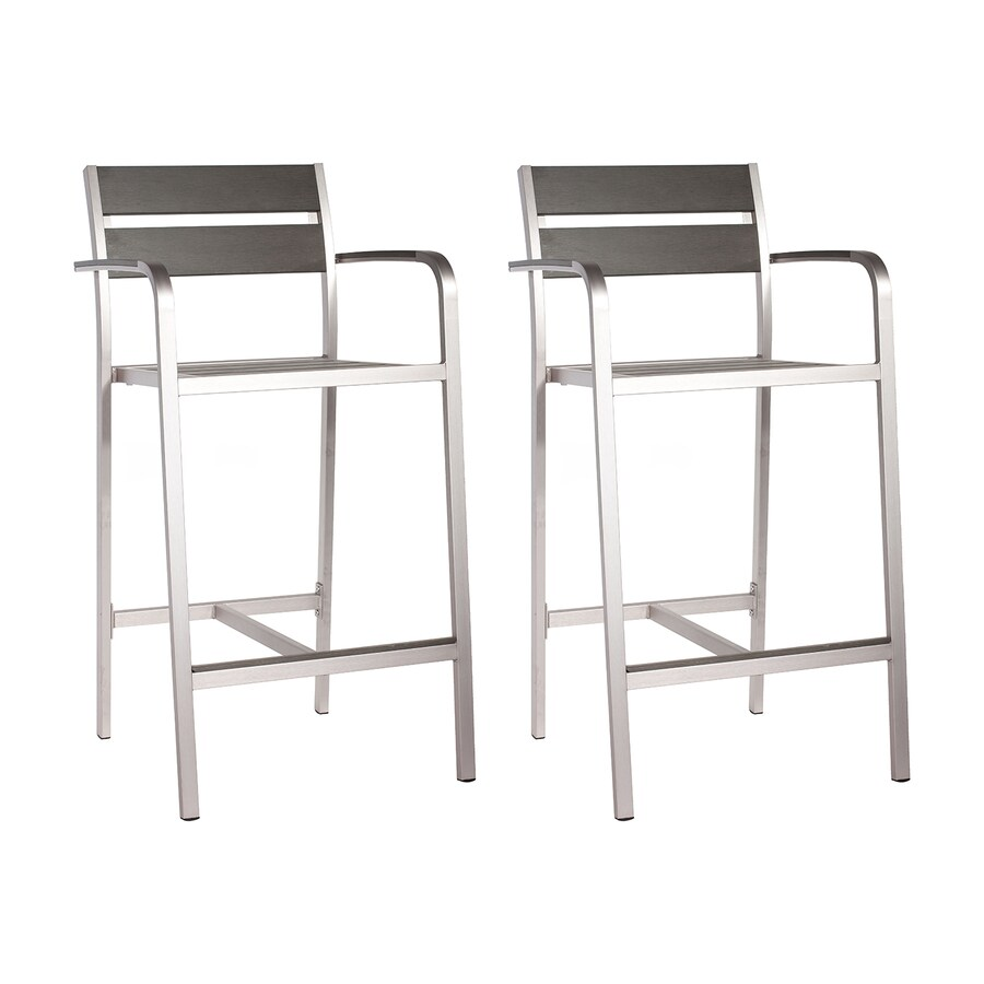 Zuo Modern Megapolis Brushed Aluminum Stackable Patio Barstool