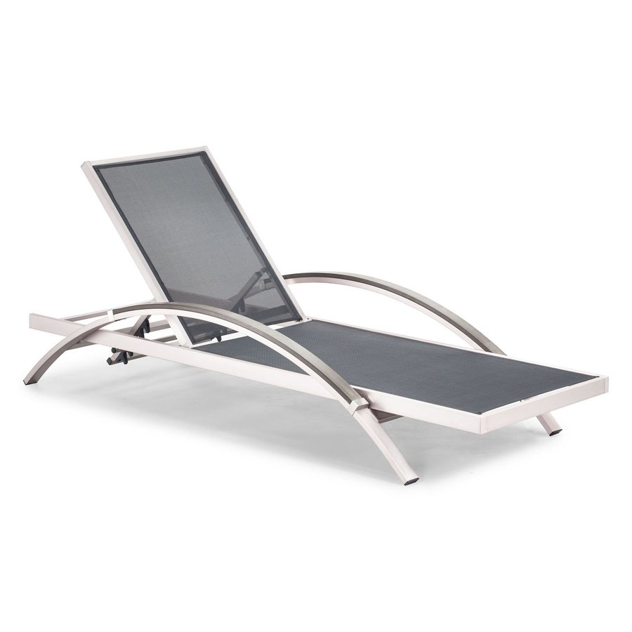 Zuo Modern Metropolitan Brushed Aluminum Patio Chaise Lounge Chair