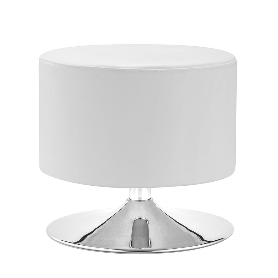 Zuo Modern Plump Modern White/Chrome Faux Leather Round Ottoman