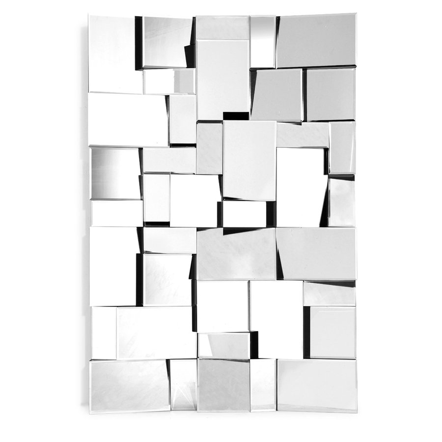 Zuo Modern Fractal 32-in x 47.5-in Silver Polished Rectangle Frameless Wall Mirror