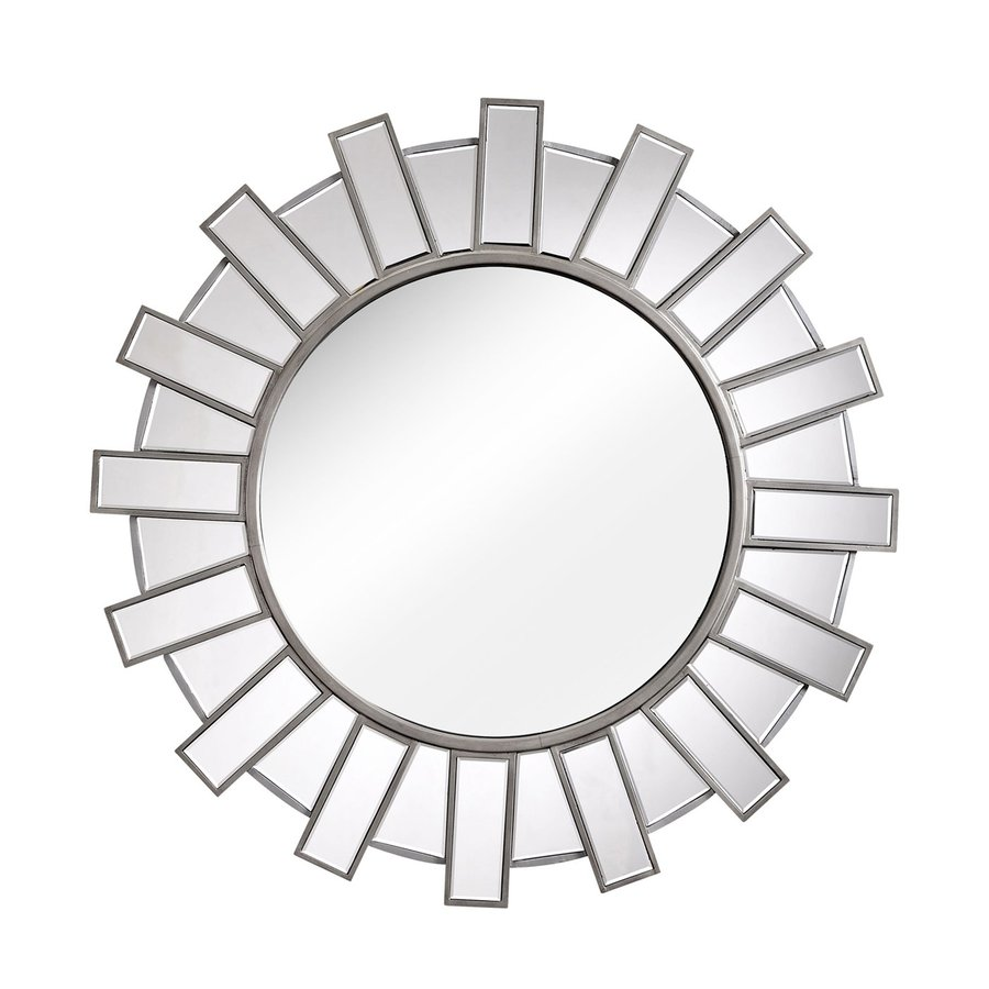 Zuo Modern Inca 42-in x 42-in Silver Polished Round Framed Sunburst Wall Mirror