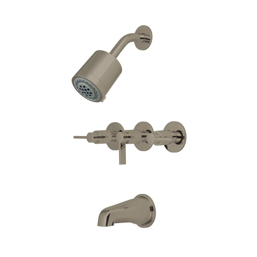 Elements of Design NuVofusion Satin Nickel 3-Handle Bathtub and Shower Faucet Trim Kit with Single Function Showerhead