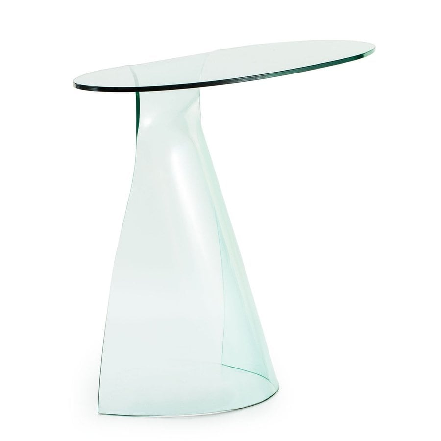 Zuo Modern Quest Clear Glass Oval Console and Sofa Table