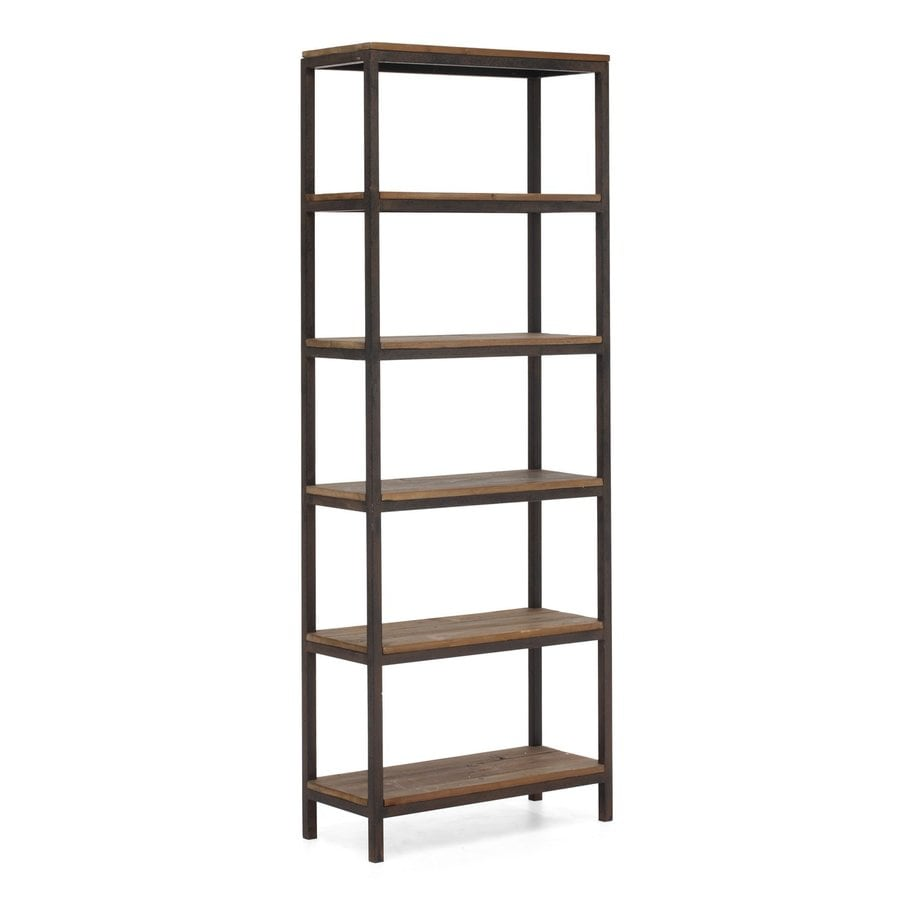 Zuo Modern Mission Bay Distressed Natural 31.5-in W x 86.6-in H x 13.8-in D 5-Shelf Bookcase
