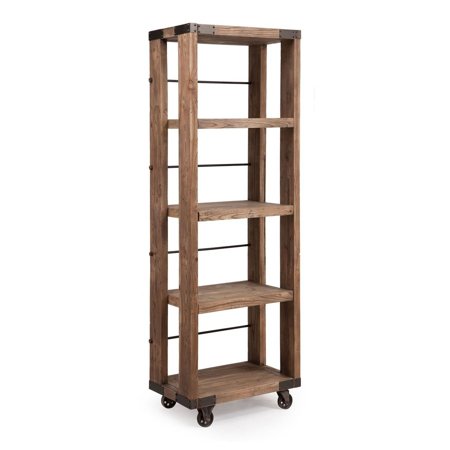 Zuo Modern Kirkwood Distressed Natural 28-in W x 81-in H x 17.7-in D 4-Shelf Bookcase