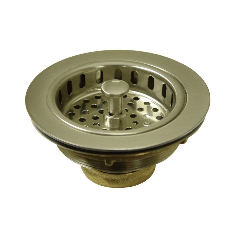 Elements of Design 4.5-in Satin Nickel Brass Twist and Lock Kitchen Sink Strainer
