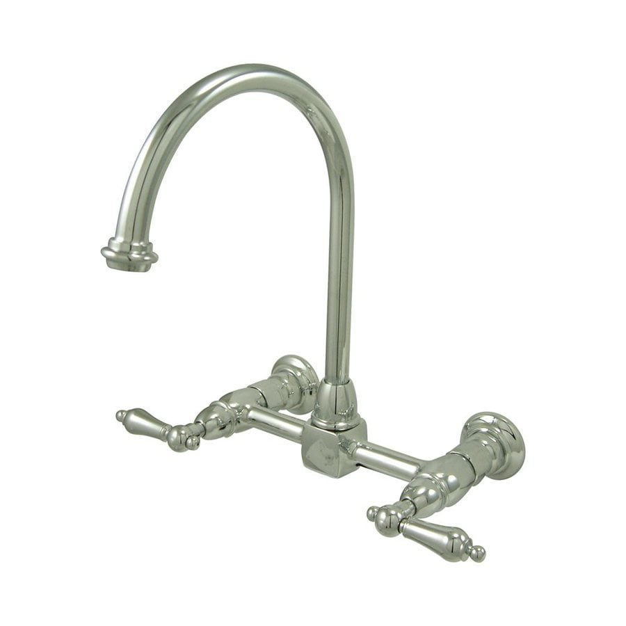 Elements of Design Chrome 2-Handle High-Arc Wall Mount Kitchen Faucet