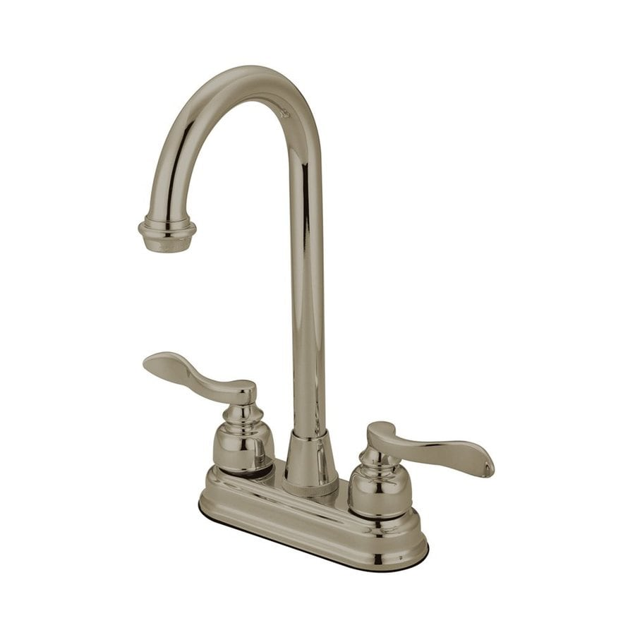 Elements of Design NuWave French Satin Nickel 2-Handle Deck Mount High-Arc Bar and Prep Faucet