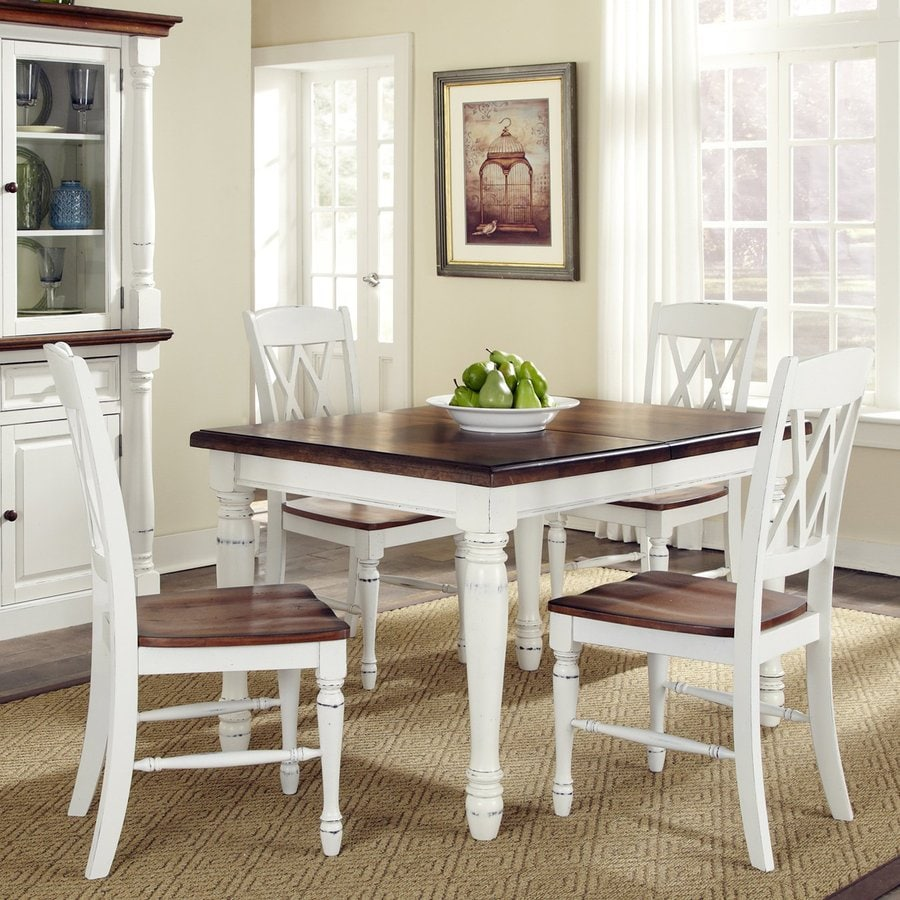 Home Styles Monarch White/Oak 5-Piece Dining Set With