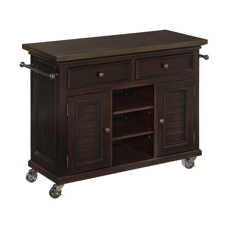 Home Styles 44 5 In L X 17 75 In W X 32 In H Espresso Kitchen Island With Casters In The Kitchen Islands Carts Department At Lowes Com