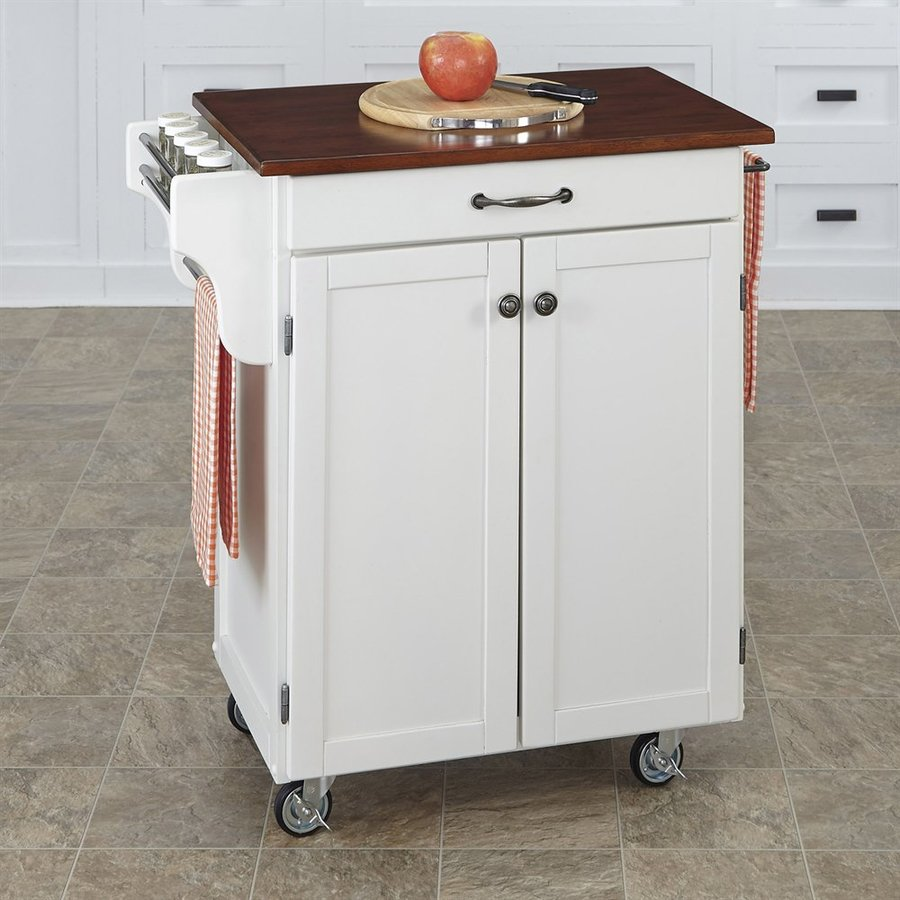 lowes kitchen islands and carts shop home styles white cherry rectangular kitchen cart at 9085