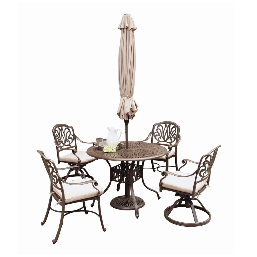 Home styles floral blossom 6 piece brown metal frame patio dining set with natural cushions