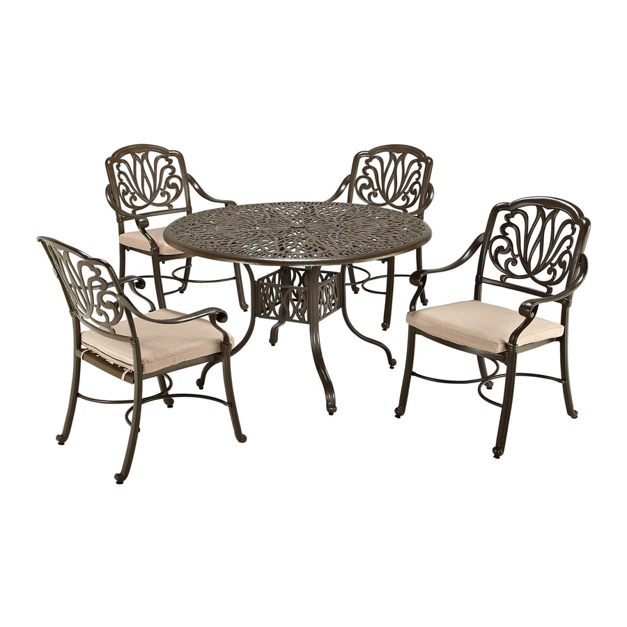 Home Styles Floral Blossom 5-Piece Taupe Aluminum Dining Patio Dining Set with Natural Cushions Included