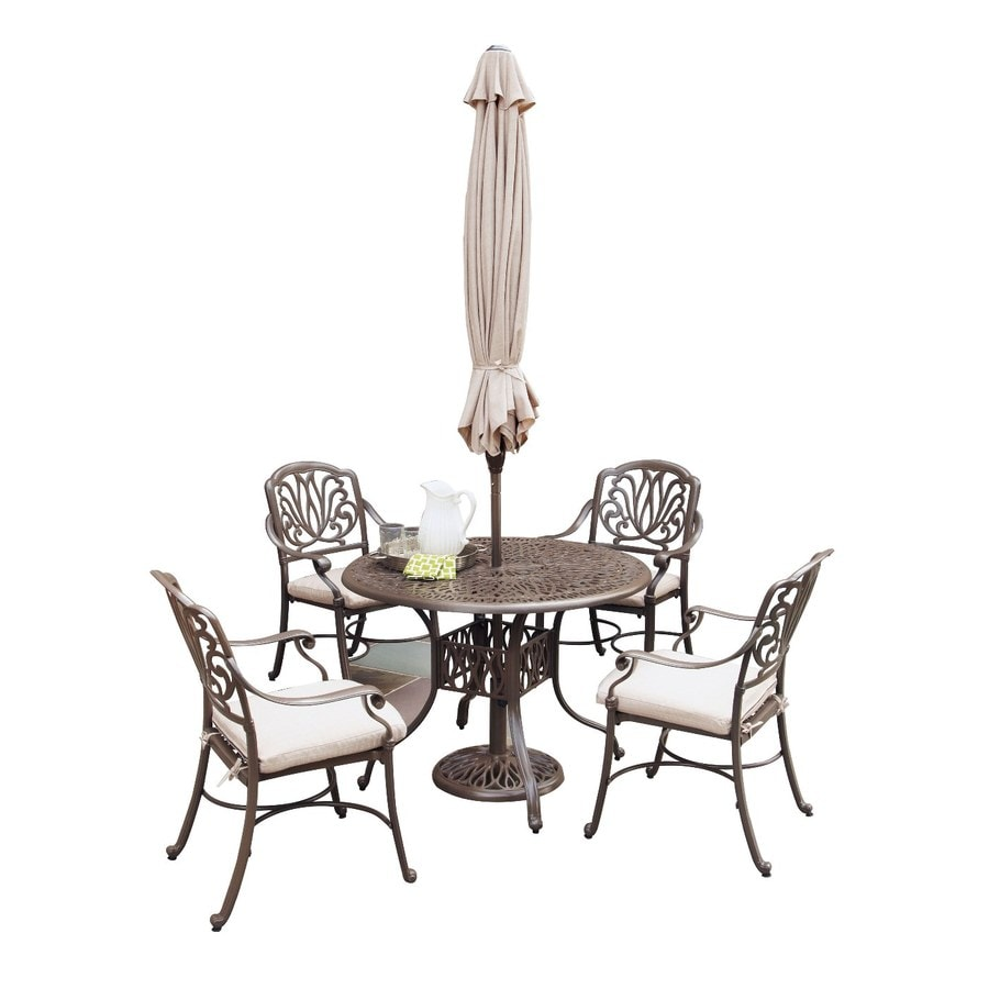 Home Styles Floral Blossom 6-Piece Taupe Aluminum Patio Dining Set